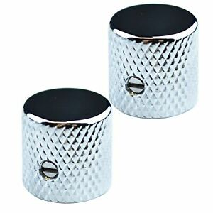2 x Flat Top Metal Control knobs For Telecaster Stratocaster Electric Guitar