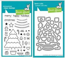 Lawn Fawn Photopolymer Clear Stamps-38 ct, PLUS DIES- TRIM THE TREE ~LF564,LF574