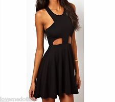 Womens Stretch Cut out Tank Racer Back Club Party Casual Flare Skater Dress 2XL