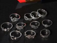11Pcs Vintage Bohemia Leaf Ring Set Elegant Ring Women Fashion Jewelry Set