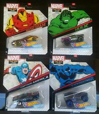 HOT WHEELS MARVEL CHARACTER CARS COMIC BOOK STYLING COMPLETE SET 1-4 LOT IM, CAP