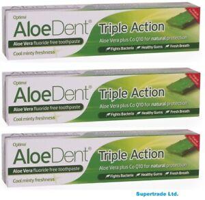 Aloe dent Aloe Vera Fluoride Free Original Triple Action Toothpaste - 100ml X 3