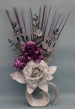 HANDMADE ARTIFICIAL SILK SILVER GLITTER ROSE PURPLE FLOWERS SILVER GLITTER VASE