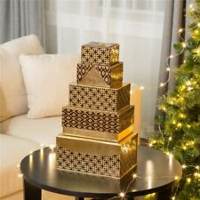 Glitzhome 5PCS Luxury Nested Gold Rectangle Lids Christmas Gift Giving Boxes Lot
