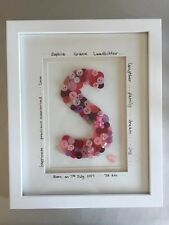 Personalised Button Frame For Christening, New Born Or Birthday