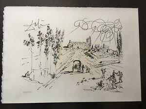 """Lithographie signé Salvador DALI """" Pubol """" 1977."""