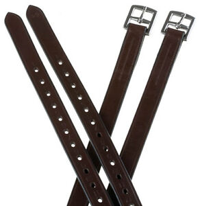 "Adult 60"" Extra Long English Saddle Stirrup Leathers Dark Brown For Stirrups"