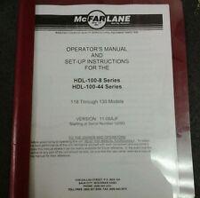 McFarlane HDL-100-8/HDL-100-44 Series Operators and Setup Manual