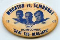 Wheaton vs Elmhurst 1968 College Football Chicago Homecoming Pin Button - BJ429