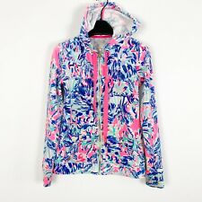 Lilly Pulitzer Women's Larina Velour Zip Up Hoodie Cabana Cocktail Size XXS 2XS