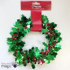 Premier Green and Red Christmas Xmas Holly Berries Wire Tinsel Garland - 2.7m