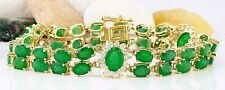 20.70CTW NATURAL COLOMBIAN EMERALD AND DIAMOND BRACELET IN 14K YELLOW GOLD