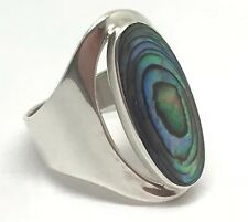 Abalone paua shell oval ring, solid Sterling Silver, New, actual one, UK size P.