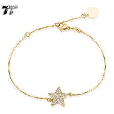 TT 18K Gold Filled Box Chain STAR Bracelet (CBF22J)
