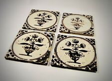 4 Antique Dutch Delft Pottery Tiles with Manganese Decoration
