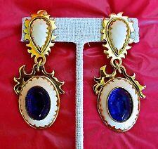 ~ HUGE French Paris Designer Cabochon Enamel Gold BLUE Dangle Pendant EARRINGS