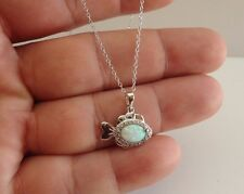 925 STERLING SILVER FISH PENDANT NECKLACE W/ WHITE OPAL & ACCENTS/18''CHAIN