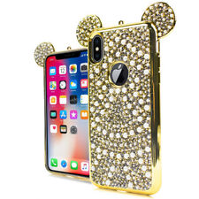 For iPhone X / 10- Gold Rhinestone Bling Teddy Ears Pearl Soft Rubber Case Cover