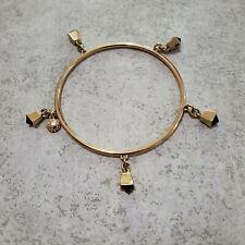 EUC J.Crew Bracelet Gold Black Charm Rhinestone Crystal Bangle EXCELLENT