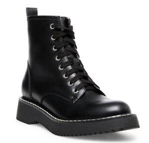 Madden Girl Women's Kurrt Lace Up Combat Boots Black Size 7.5M