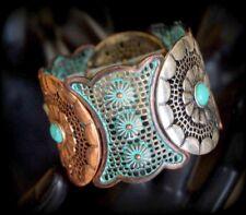 Boho Design Filigree Metal Turquoise Stretch Bracelet Copper Patina Silver Gold