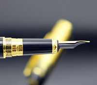 HERO 901 Medium Nib Fountain Pen Luxury Black & Gold Stainless Brand New