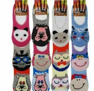 3,6,9 Pairs Ladies Girls Kids Socks Animal Design Invisible Trainer Liner Socks