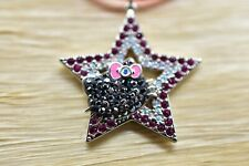 Hello Kitty Swarovski Pave Rhinestone Crystal Rock Star Necklace Pendant Bin7