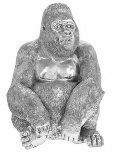 Silver art gorilla large ornament monkey ape figurine art sculpture present gift