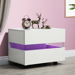 1 Bedside Table with 2 Drawers Cabinets  Storage Nightstand Units RGB LED Light