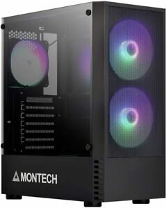 Montech X2 Black Compact ATX Mid Tower Mesh Computer Power Case w/ 140mm RGB Fan
