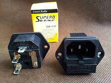 1x hifi Create Audio IEC AC Inlet Socket Rhodium Plated DB-14F Fuse Socket