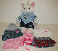 Build A Bear White Cat w/ Girl Clothes Outfits 8 PC Lot