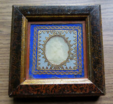 ANTIQUE BEESWAX IMAGE of MADONNA & CHILD & HORSE FRAMED ROME ITALY