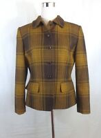 Beautiful Jones New York Womens Brown Plaid Wool Lined Blazer Coat Size 8