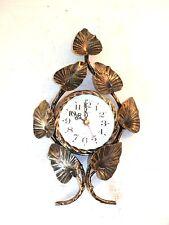 Orologio da parete con movimento al quarzo in ferro battuto con foglie oro