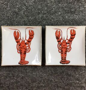 "Antique Pair Red Lobster Square Plates 3-3/4"" Gold Trim Decorative Home DecorTPE"