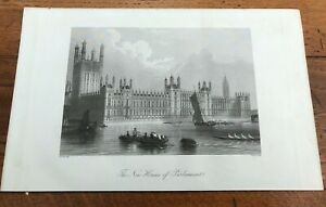 1855 original print - ( life & times of wellington ) new houses of parliament !