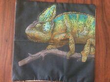 Chameleon Lizard Reptile Linen Square Pillow Cushion Cover.