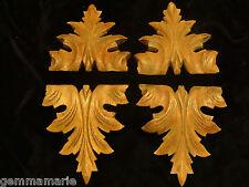 Antique Arts & Crafts decorative oak tree leaf Wood carving appliques set of 4