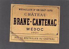 MARGAUX 2E GCC VIEILLE LITHOGRAPHIE CHATEAU BRANE CANTENAC 1921 RARE §19/08/17§