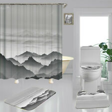 Grey Mountain Art Print Shower Curtain Bath Mat Toilet Cover Rug Bathroom Decor
