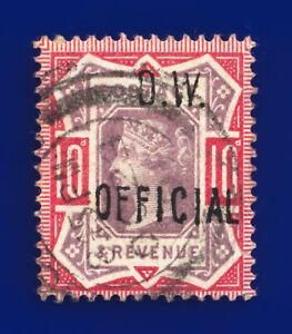 1902 SGo35 10d Dull Purple & Carmine O.W. Official OC 23 01 Used Cat £2250 ddkj