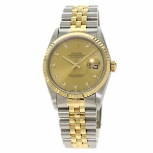 ROLEX Datejust 10P Diamond Old type Watches 16233G Stainless Steel/SSx18K Ye...