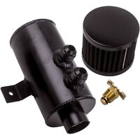 Universal Baffled Engine Oil Catch Can 2x AN10 Twin Port Breather Filter Black