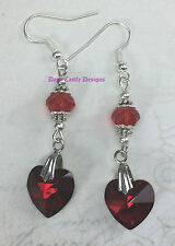 Handmade Classic Vintage Drop Dangle Beaded Red Heart Earrings Gothic Jewelry