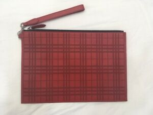New Genuine Burberry Perforated Check Red Leather Zip Men's Pouch Wrist Strap