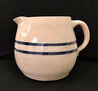Vintage Stoneware Crockery Pottery Pitcher Glazed Double Cobalt Blue Bands