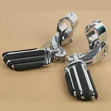 "32mm 1.25"" Chrome Short Angled Adjustable Highway Foot Pegs For Harley-Davidson"