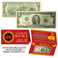 2019 Cny Chinese Year of the Pig Lucky Money U.S. $2 Bill w/ Red Folder - S/N 88